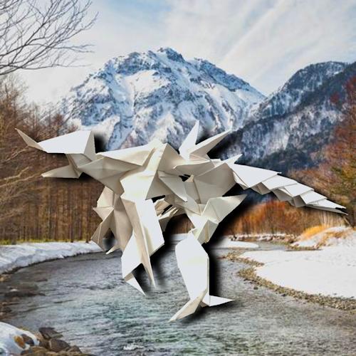 りょうすけ@組み立て折神工房Assembly Origami Workshopさんによる「パラボラプトル」 17枚の折り紙