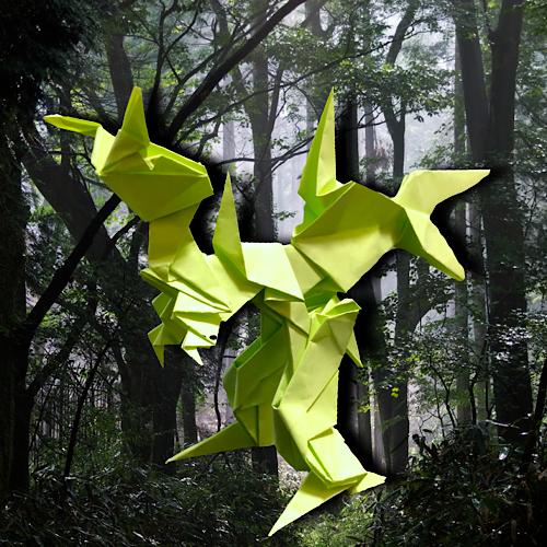 りょうすけ@組み立て折神工房Assembly Origami Workshopさんによる「カスコドラゴン」 9枚の折り紙