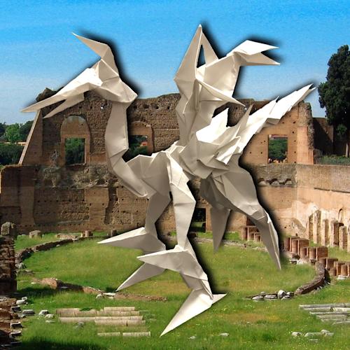 りょうすけ@組み立て折神工房Assembly Origami Workshopさんによる「フラウント・ドラゴン」 28枚の折り紙