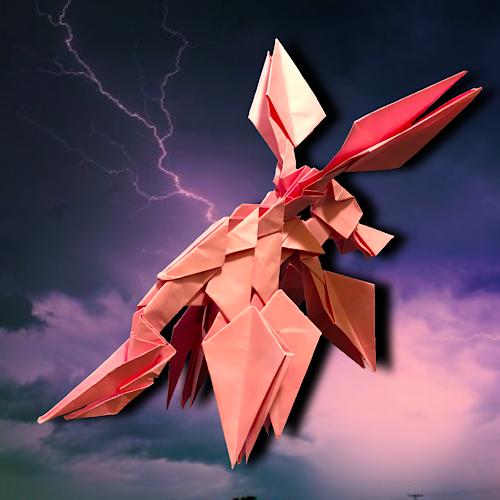 りょうすけ@組み立て折神工房Assembly Origami Workshopさんによる「トニトルス・ローゼ」 16枚の折り紙
