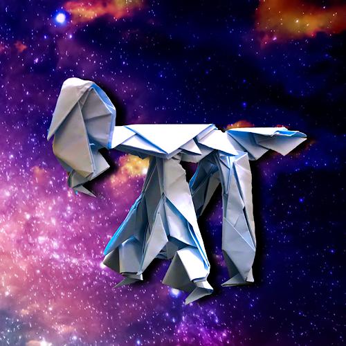 りょうすけ@組み立て折神工房Assembly Origami Workshopさんによる「プシケ」 15枚の折り紙