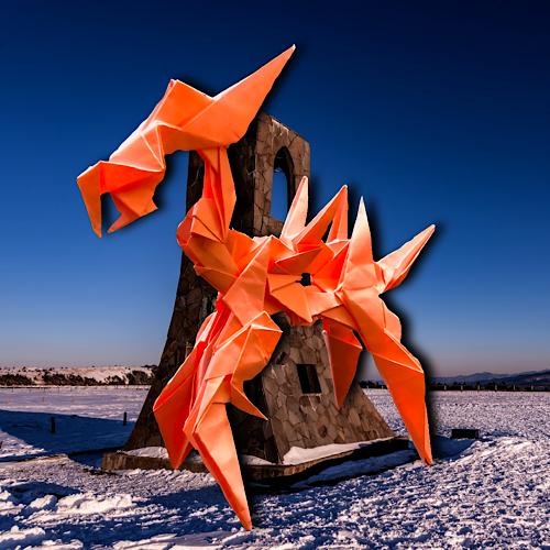 りょうすけ@組み立て折神工房Assembly Origami Workshopさんによる「退廃のセンチネル」 17枚の折り紙