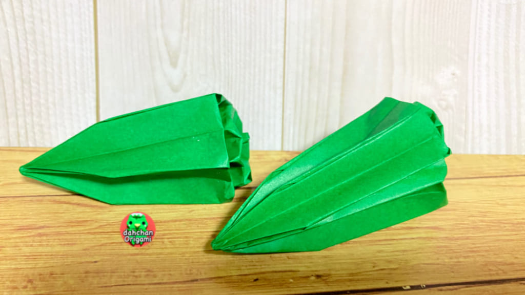 だ〜ちゃんさんによる立体 オクラの折り紙