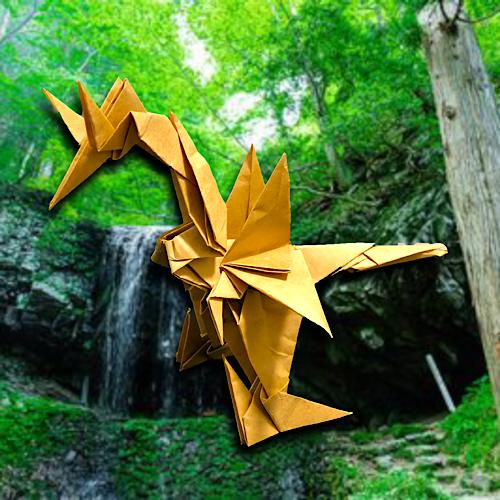 りょうすけ@組み立て折神工房Assembly Origami Workshopさんによる「秀熟龍サラウ」 12枚の折り紙