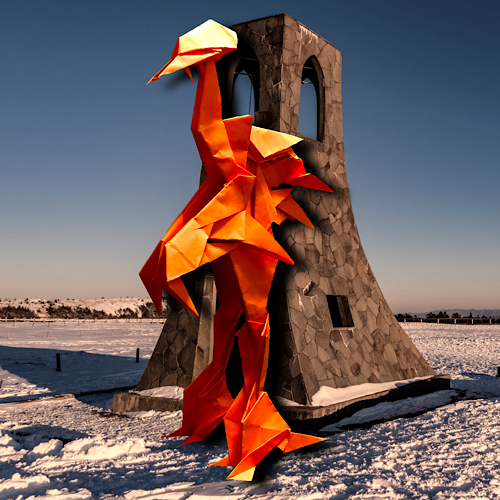 りょうすけ@組み立て折神工房Assembly Origami Workshopさんによる「赤骨龍バベル」 17枚の折り紙
