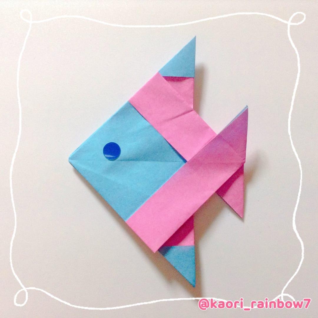 ※両面折り紙で折ってもかわいいよ。※オリカタの「折ってみた」や、SNSにハッシュタグ #kaori_rainbow7 をつけて、ぜひ投稿してくださいね。