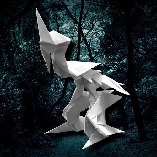 りょうすけ@組み立て折神工房Assembly Origami Workshopさんによる「カオフセ」 8枚の折り紙