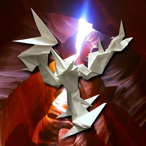 りょうすけ@組み立て折神工房Assembly Origami Workshopさんによる「ハリヤ」 12枚の折り紙