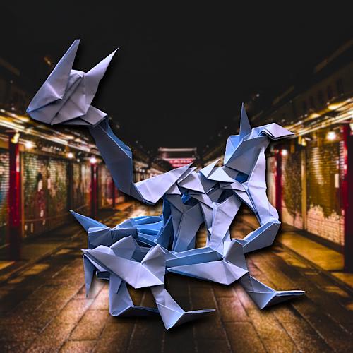 りょうすけ@組み立て折神工房Assembly Origami Workshopさんによる「ホウソウシ」 33枚の折り紙