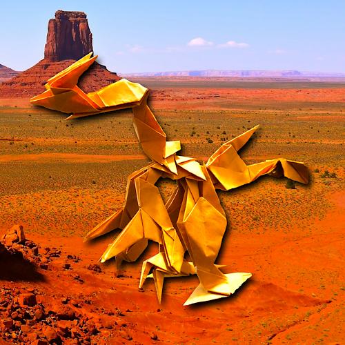 りょうすけ@組み立て折神工房Assembly Origami Workshopさんによる「シャフナー」 16枚の折り紙