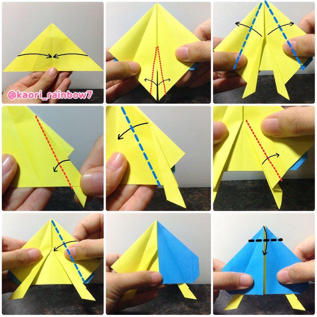 ※口腕部分を折り図のようにジャバラ折りにします。難しい場合は、胴体からはみ出る部分をペンで縦に線を描いたり、ハサミでカットしましょう。
