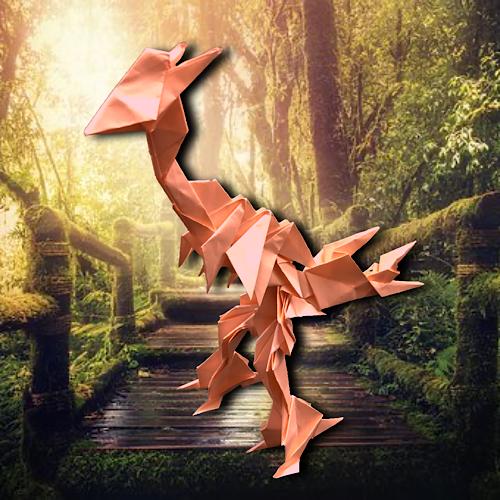 りょうすけ@組み立て折神工房Assembly Origami Workshopさんによる「木板龍アルサスナ」 15枚の折り紙