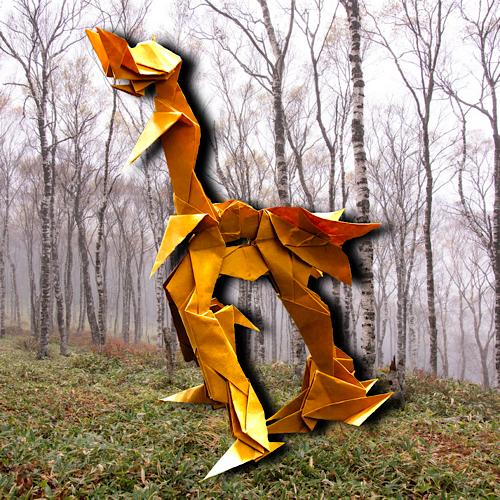 りょうすけ@組み立て折神工房Assembly Origami Workshopさんによる「岩龍ティール」 18枚の折り紙