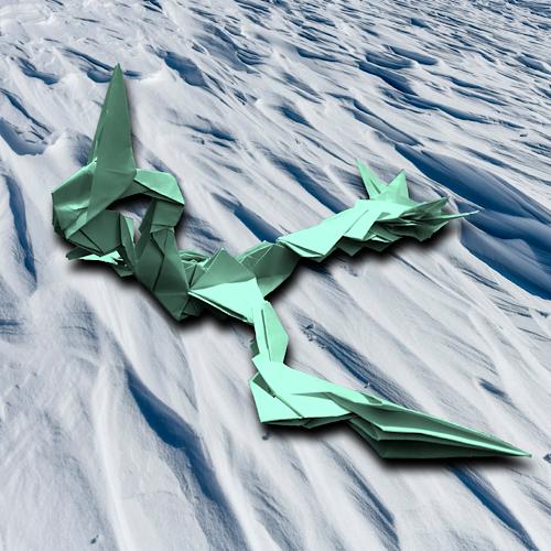 りょうすけ@組み立て折神工房Assembly Origami Workshopさんによる「雪泳龍カルコス」 19枚の折り紙