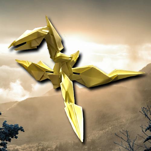 りょうすけ@組み立て折神工房Assembly Origami Workshopさんによる「トラモント」 13枚の折り紙