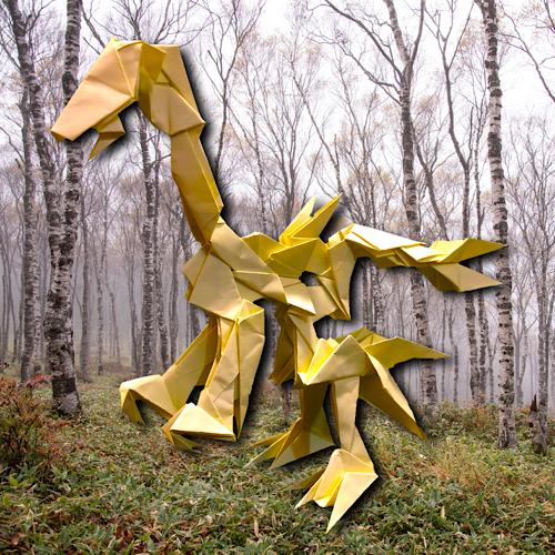 りょうすけ@組み立て折神工房Assembly Origami Workshopさんによる「硫化尾のプラテリオ」 21枚の折り紙