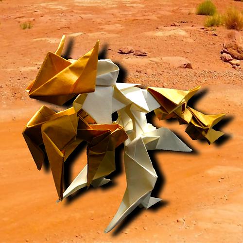 りょうすけ@組み立て折神工房Assembly Origami Workshopさんによる「サバニクス」 15枚の折り紙