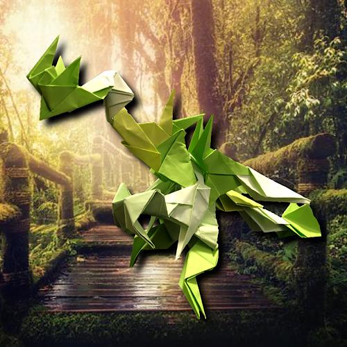 りょうすけ@組み立て折神工房Assembly Origami Workshopさんによる「トロピス・ドラゴン」 20枚の折り紙