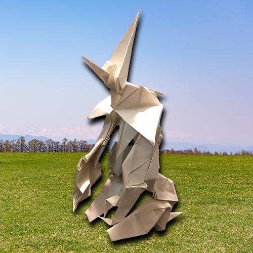 りょうすけ@組み立て折神工房Assembly Origami Workshopさんによる「白重機アンブロ」 17枚の折り紙