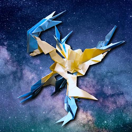 りょうすけ@組み立て折神工房Assembly Origami Workshopさんによる「アイストス・ドラグーン」 21枚の折り紙
