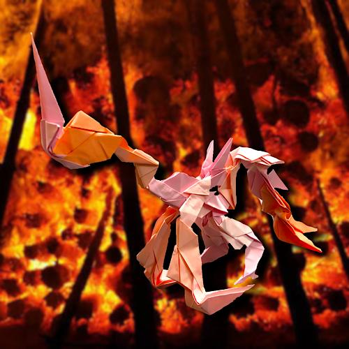 りょうすけ@組み立て折神工房Assembly Origami Workshopさんによる「炎雷のイルガクス」 21枚の折り紙