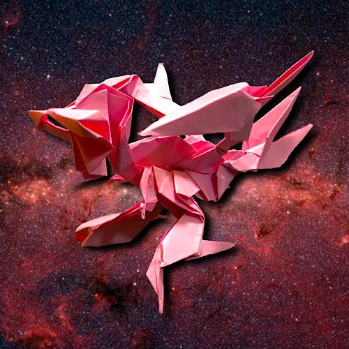 りょうすけ@組み立て折神工房Assembly Origami Workshopさんによる「赤繋のアトラタス」 15枚の折り紙