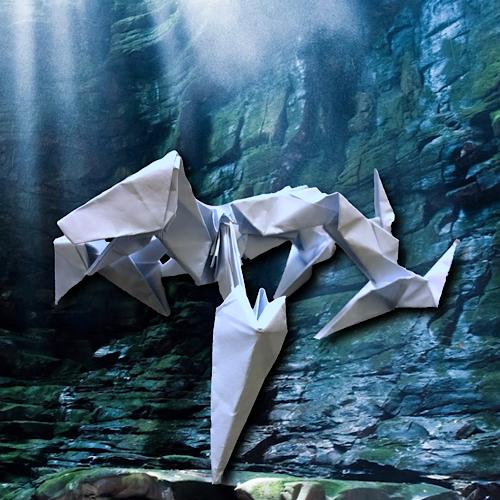 りょうすけ@組み立て折神工房Assembly Origami Workshopさんによる「アンスローター」 12枚の折り紙