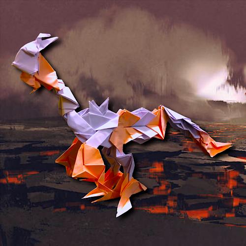 りょうすけ@組み立て折神工房Assembly Origami Workshopさんによる「メランディル・ドラゴン」 23枚の折り紙