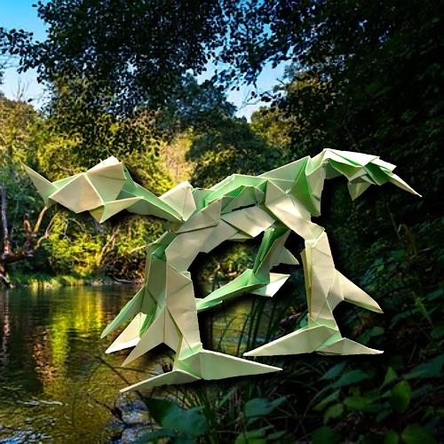 りょうすけ@組み立て折神工房Assembly Origami Workshopさんによる「アンセリオ」 17枚の折り紙