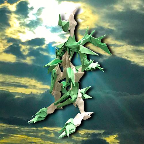 りょうすけ@組み立て折神工房Assembly Origami Workshopさんによる「スティレクス・ドラゴンスカイ」 45枚の折り紙