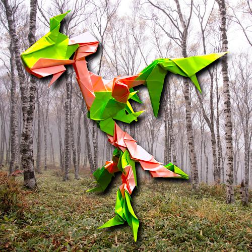 りょうすけ@組み立て折神工房Assembly Origami Workshopさんによる「エランジェドラゴン」 23枚の折り紙