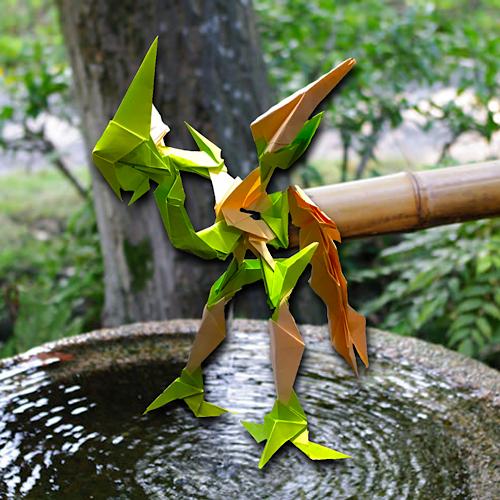 りょうすけ@組み立て折神工房Assembly Origami Workshopさんによる「シシオドシ」 22枚の折り紙