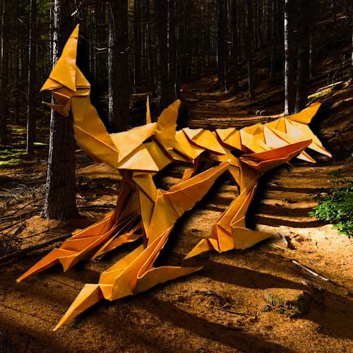 りょうすけ@組み立て折神工房Assembly Origami Workshopさんによる「カレタタチ」 16枚の折り紙