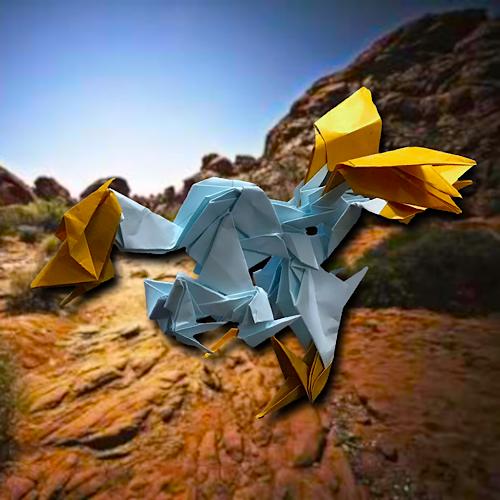 りょうすけ@組み立て折神工房Assembly Origami Workshopさんによる「化石骨龍」 19枚の折り紙