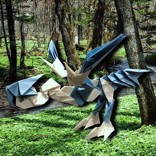 りょうすけ@組み立て折神工房Assembly Origami Workshopさんによる「アリエス・ドラゴン」 22枚の折り紙
