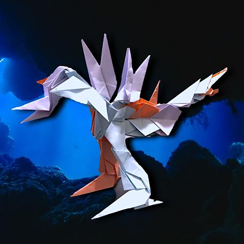 りょうすけ@組み立て折神工房Assembly Origami Workshopさんによる「トリニティドラゴン」 20枚の折り紙