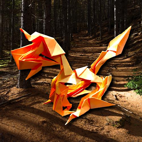 りょうすけ@組み立て折神工房Assembly Origami Workshopさんによる「フェブリス」 12枚の折り紙