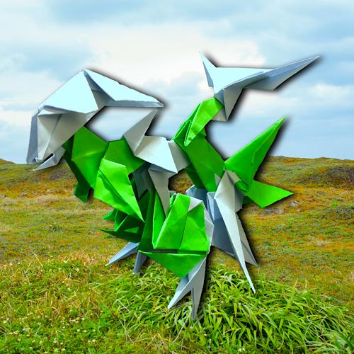 りょうすけ@組み立て折神工房Assembly Origami Workshopさんによる「アルトランス」 12枚の折り紙