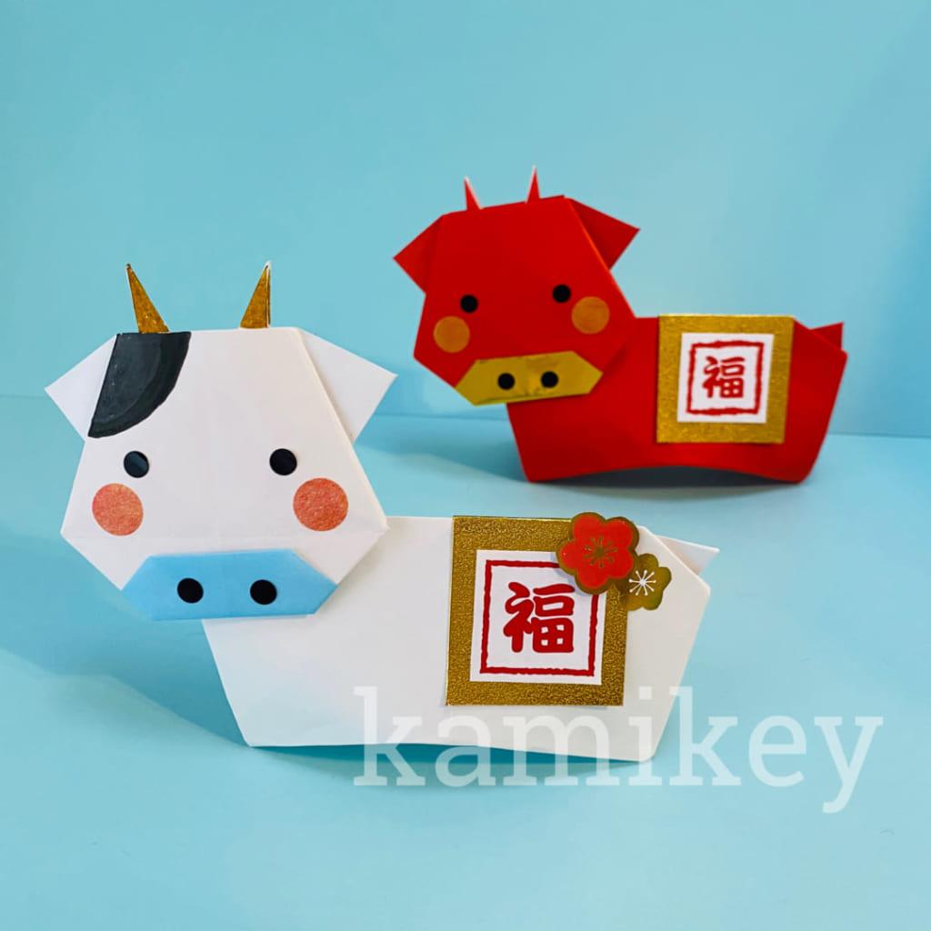 カミキィさんによる牛の置物の折り紙
