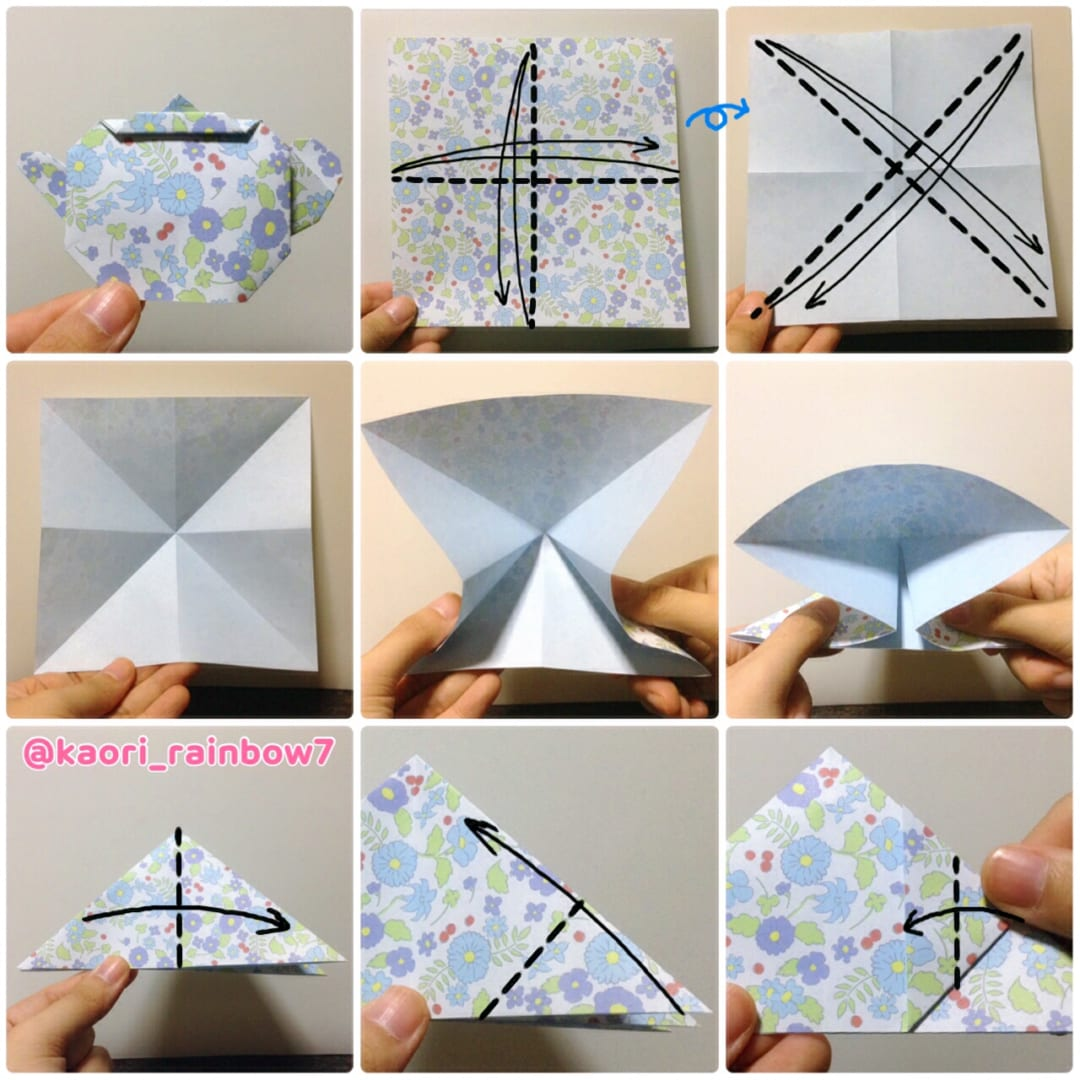 ティーポット 折り順について、1段目の左から右へ。2段目、3段目も同様です。
