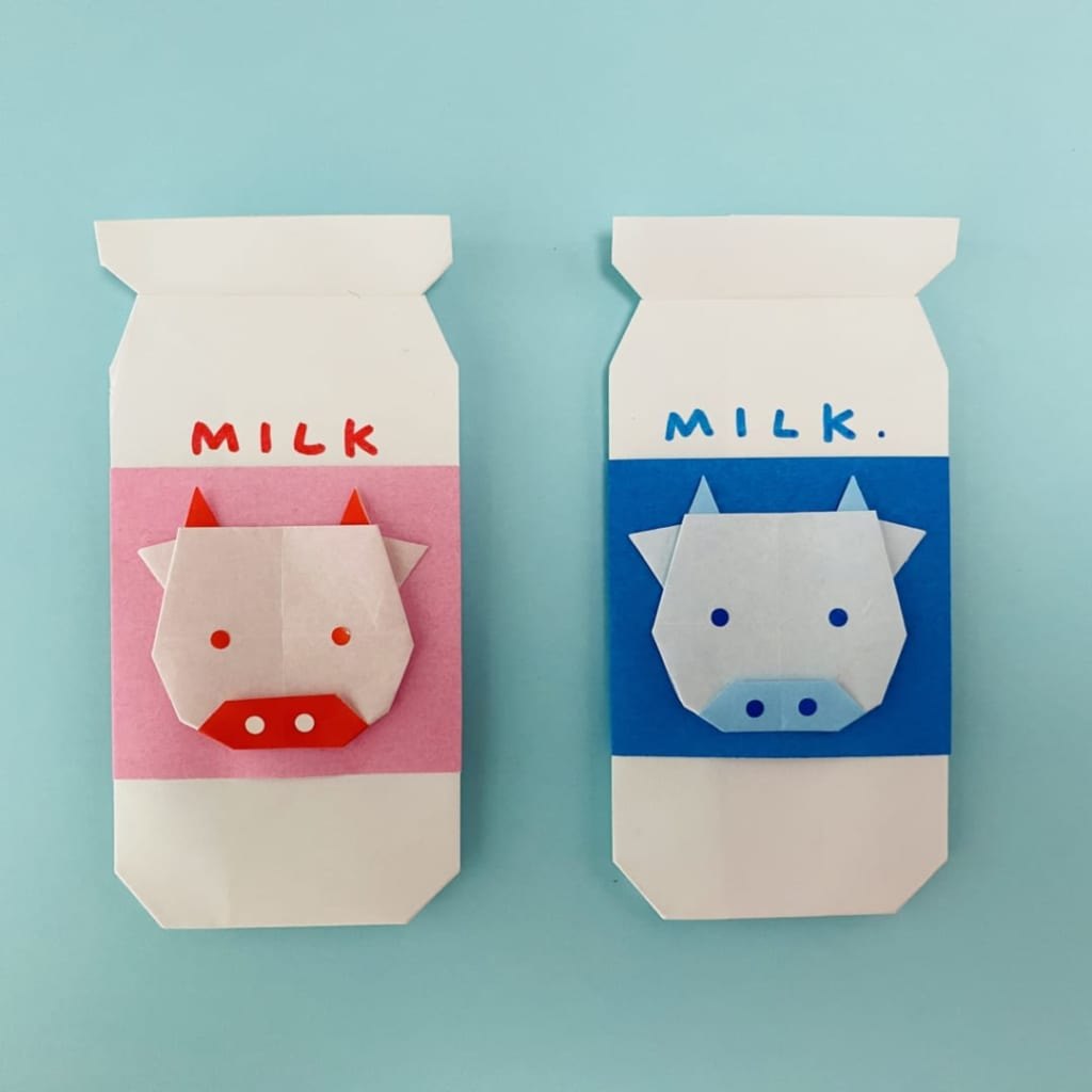 カミキィさんによる牛乳びんのぽち袋の折り紙