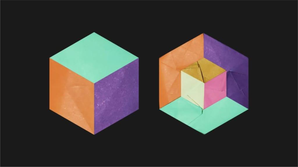 ハディさんによるアイソメトリックキューブの折り紙