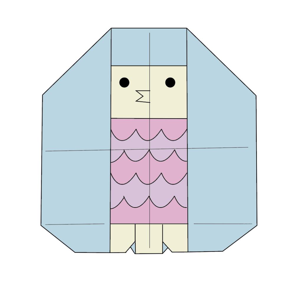 カミキィさんによるアマビエ(折り図)の折り紙