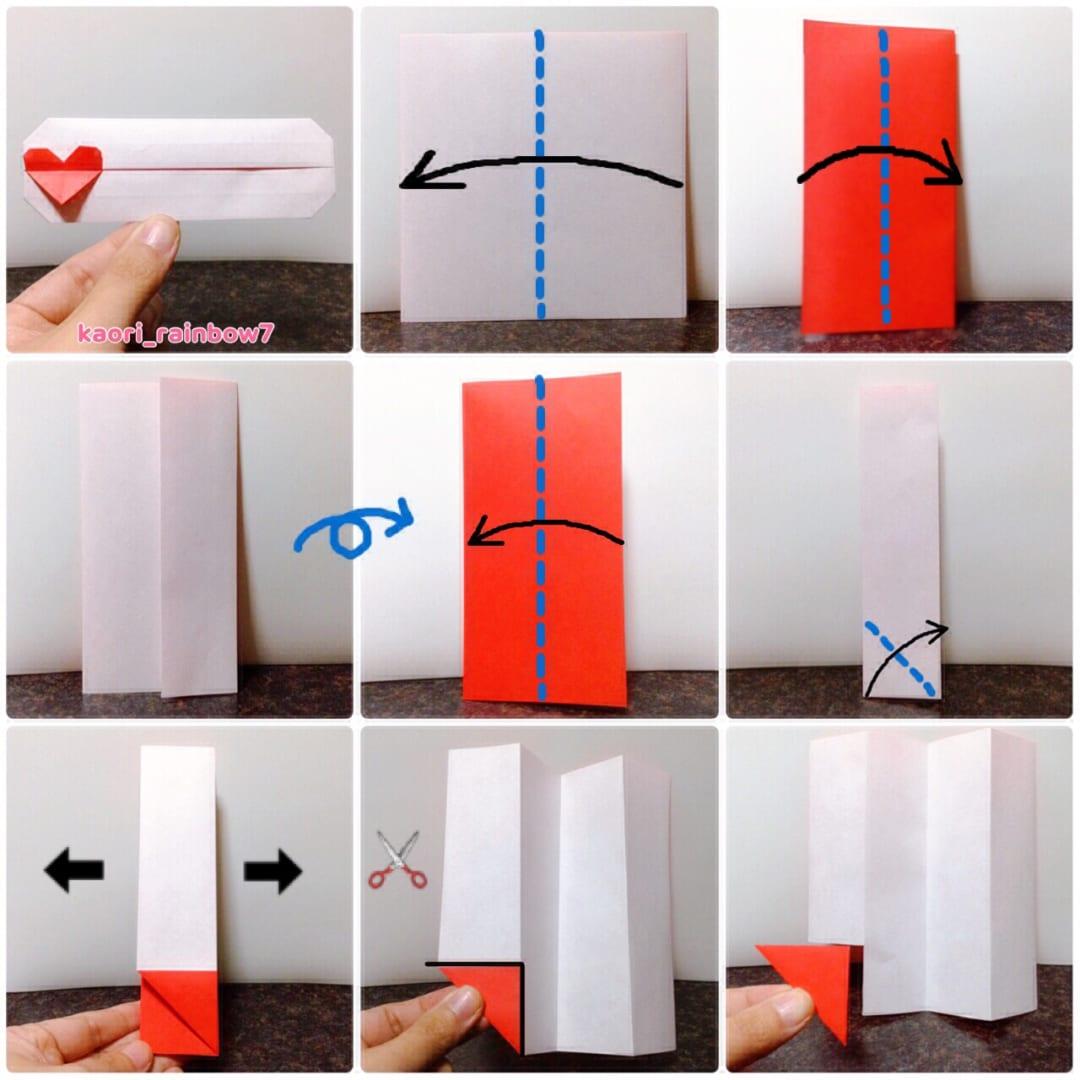折り順について、1段目の左から右へ。2段目、3段目も同様です。 ハート部分の折り紙について、別の折り紙3.75cmをご用意される場合は、15cmの折り紙はカットせずに折ってください。