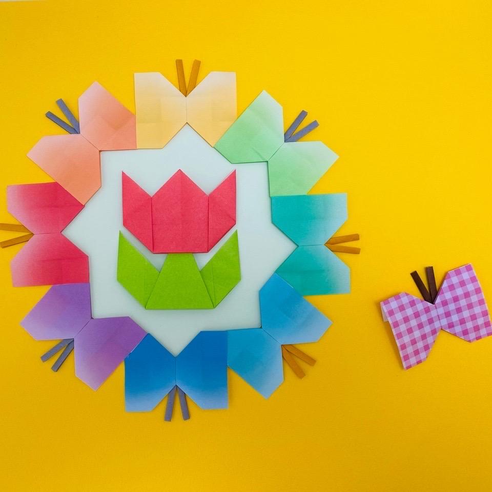 カミキィさんによるちょうちょ/ちょうちょリースの折り紙