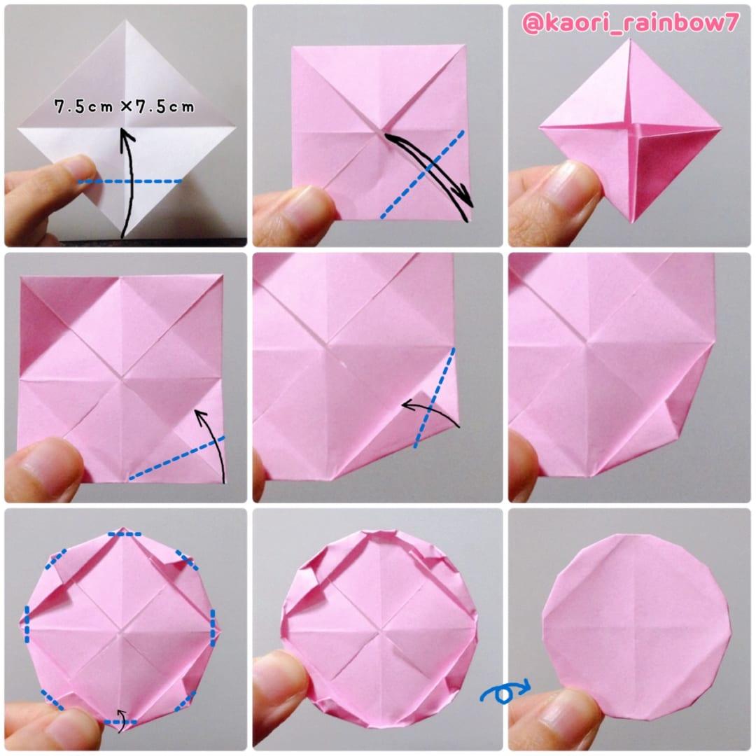 桜の木 桜柄の折り紙でもかわいいと思います。※緑などで折れば、他の木にもなります。赤色の丸シールを貼って、リンゴの木にも!