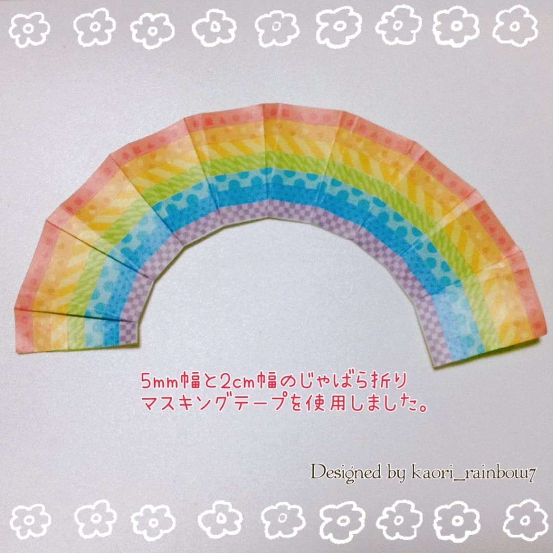 じゃばら折りの数を増やすと より緩やかなアーチになります。こちらは、マスキングテープで細い幅のものを7色使用しました。一度に端から端まで貼り付けられるので とても便利です。ご参考までに!