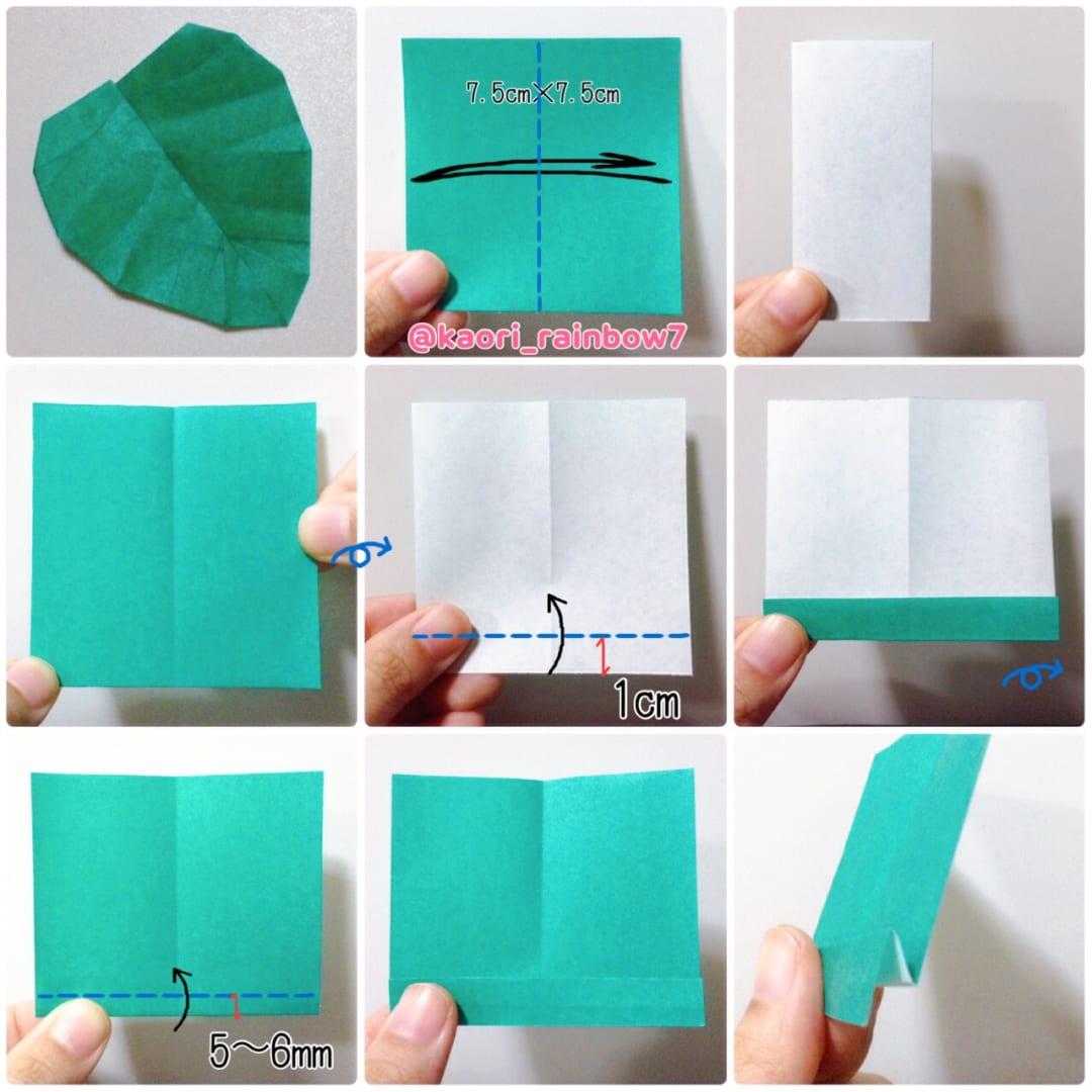 折り順について、1段目の左から右へ。2段目、3段目も同様です。 ※あじさいの花の折り方は、上記の詳細にリンクを貼り付けています。