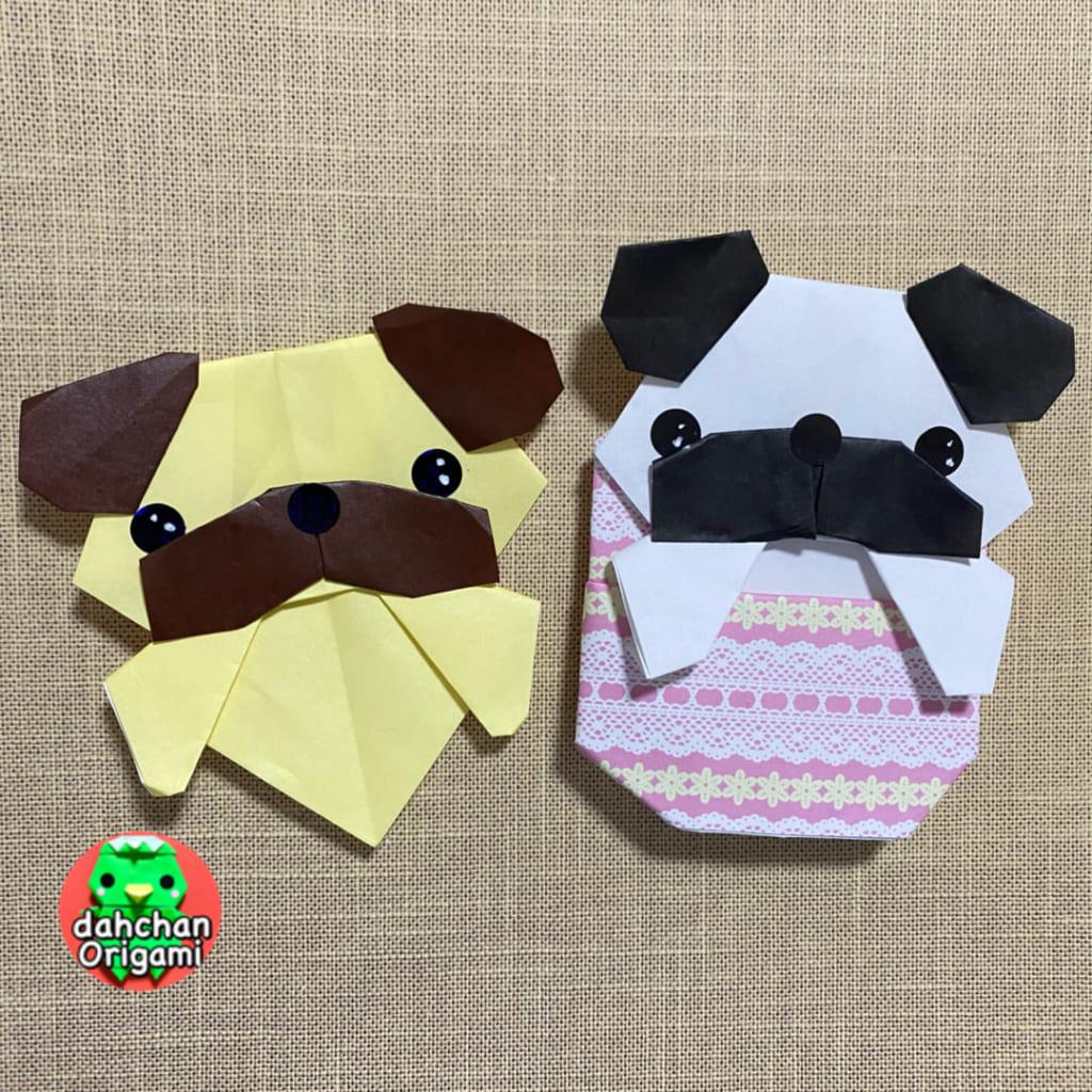だ〜ちゃんさんによるひょっこりパグ犬の折り紙