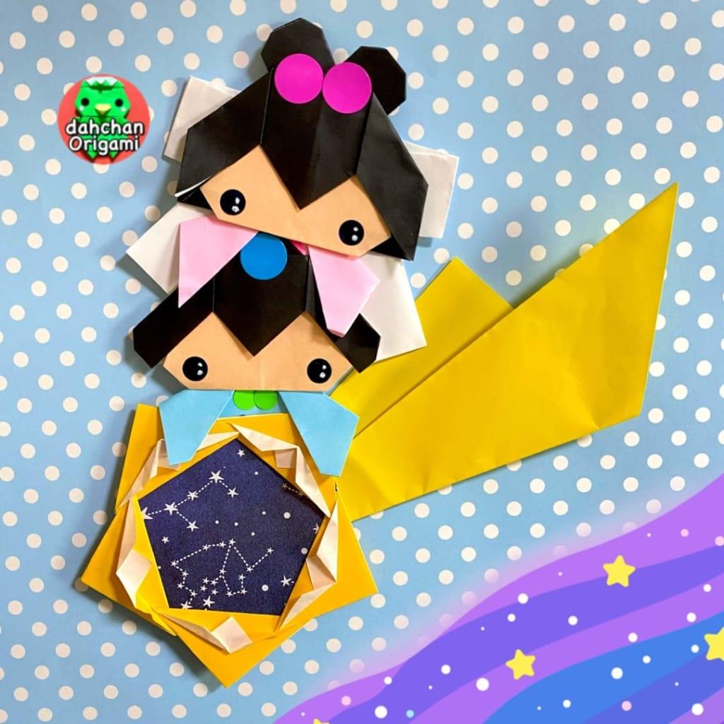 だ〜ちゃんさんによるひょっこり織姫と彦星の折り紙